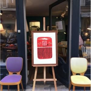 encadrement_bois_ancien_paris_batignolles_lartetlafacon_lionelborla_ipdarawing_chaise_thonet_maxbill_violet_jaune_boutique_vintage_ruenollet