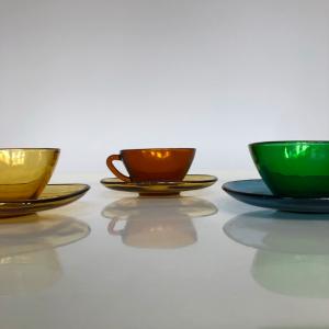 service a thé café vert ambre orange vereco annees50 vintage art de la table decoration paris zoombis