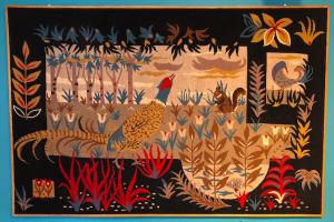 tapisserie vintage jean picart ledoux lurcat faisan ecureuil decoration murale galerie parisbatignolles lartetlafacon grosplan